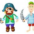 Funny cartoon pirates — Stock Vector