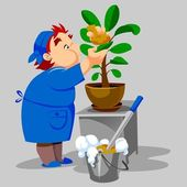 Cleaning woman washes houseplant — Stock Photo
