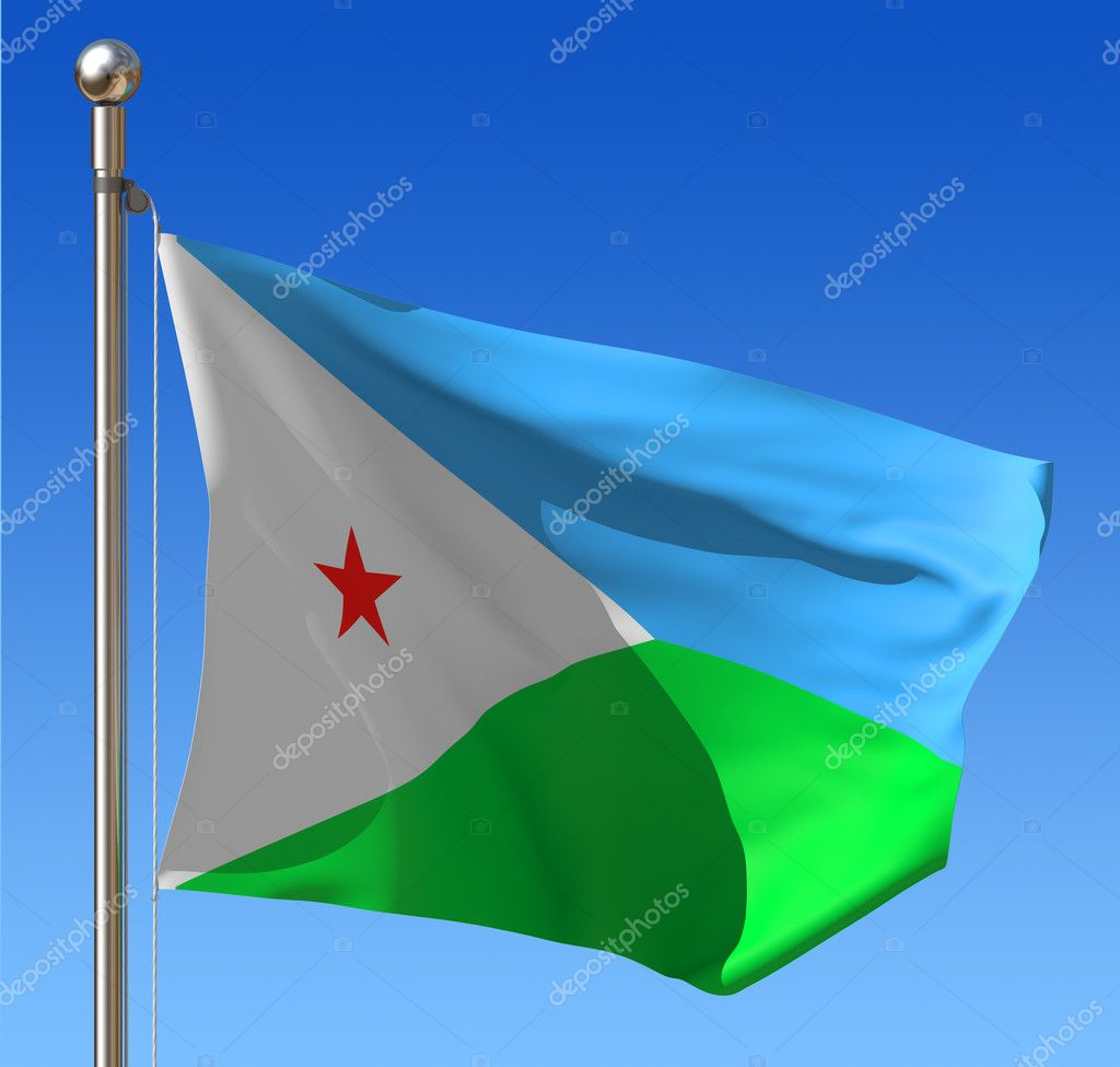 Flag of Djibouti waving in the wind against blue sky. Three dimensional rendering illustration. — Stock Photo #8636577