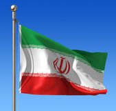Flag of Iran against blue sky. — Stock Photo