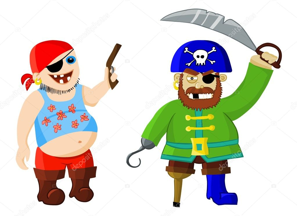 Funny Cartoon Pirates on a
