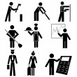 Different occupations black icons — Stockvectorbeeld