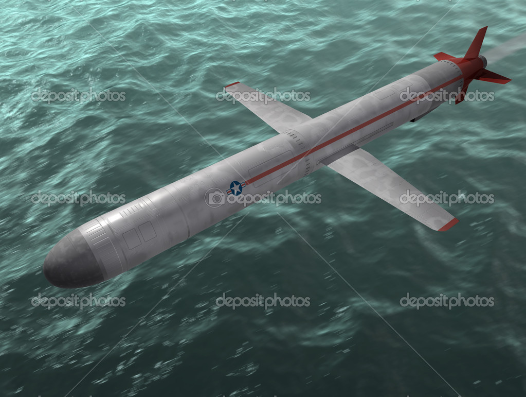 The cruise missile flies over the sea. 3d image.  Stock Photo #8507641