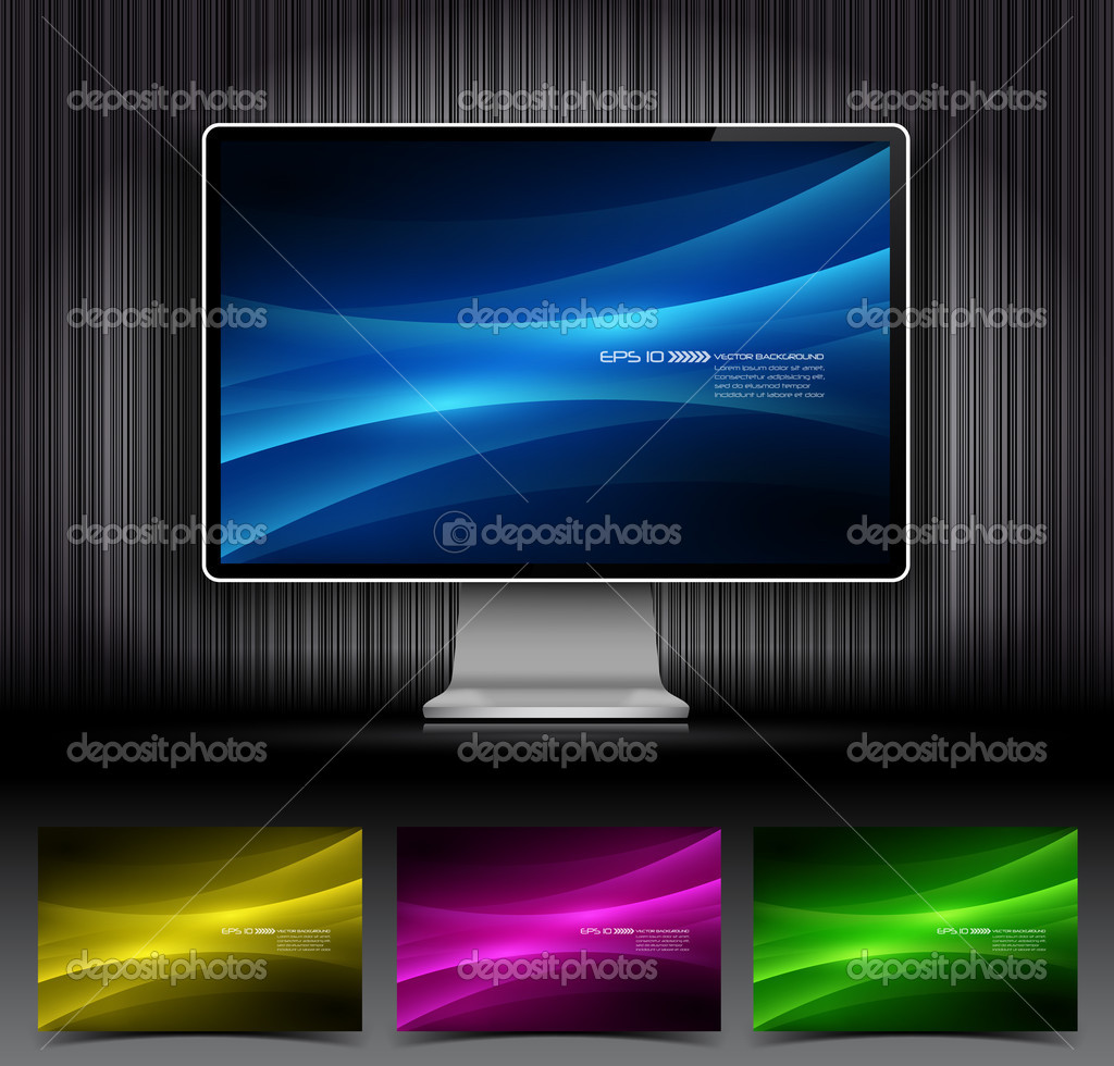 Vector digital LCD monitor and four abstract backgrounds  Stock Vector #8615712