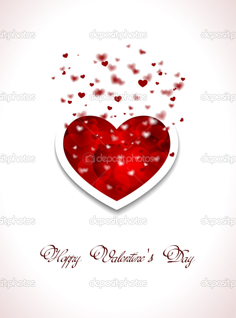 Valentins Day card with red hearts  Stock Vector #8320507