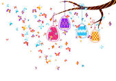 Hanging easter eggs with butterflies — Stock Vector