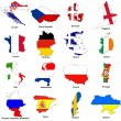 Euro 2012 european championship flag maps — Stock Photo