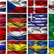 Euro 2012 european championship fabric flags — Stock Photo