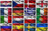 Euro 2012 european championship fabric flags — Stock Photo
