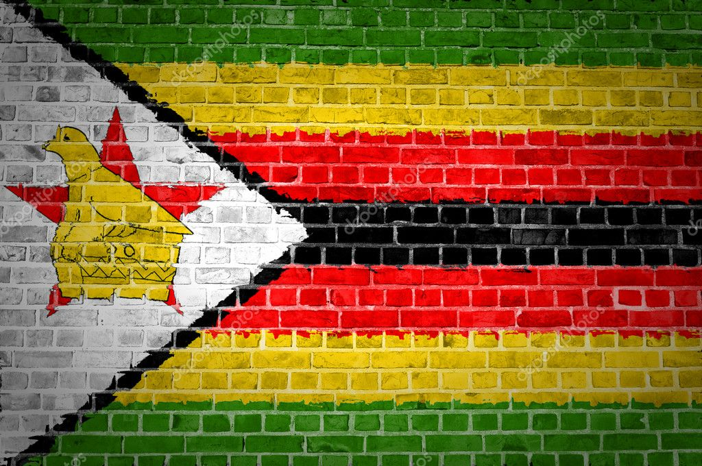 An image of the Zimbabwe flag painted on a brick wall in an urban location — Stock Photo #8867504