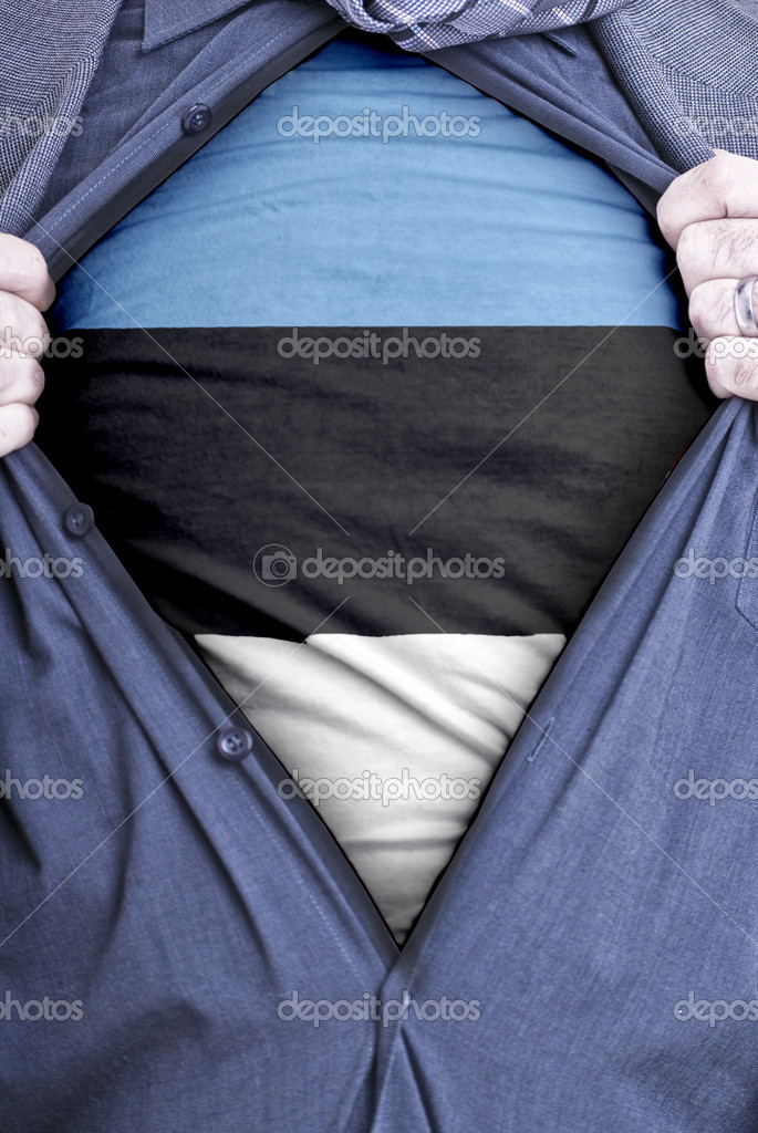 An Estonian businessman rips open his shirt and shows how patriotic he is by revealing his countries flag beneath printed on a t-shirt — Stock Photo #9845852