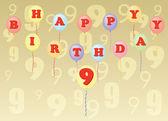 Buon compleanno nove anni — Vettoriale Stock