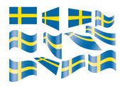 Set of Swedish flags — Stock Vector