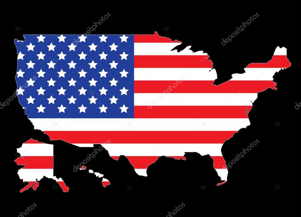 美国地图轮廓与美国国旗