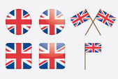 Badges with United Kingdom flag — Stock Vector