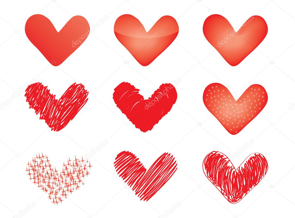 Set of vector valentines  Stock Vector #8410985