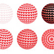 Set of globes with valentines — Stock Vector