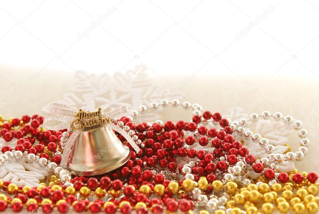 Christmas tree decorations: merry christmas bell on beads  Stock Photo #8558095
