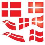 Set of Danish flags — Stock Vector