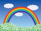 Landskap med regnbåge — Stockvektor