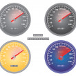 Stock Vector: Set of mph and kph speedometers