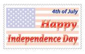 幸せな独立記念日のポストのスタンプ — ストックベクタ