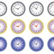 Stock Vector: Set of office clocks