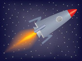 Rocket flying in a space — Stock Vector