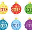 Christmas tree balls 2013 — Stock Vector
