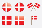 Badges with Danish flag — Stock Vector