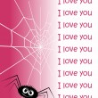 Web in the form of heart and a spider. — Stock Vector