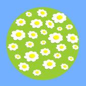 Daisy wheel flowers on globe — Cтоковый вектор