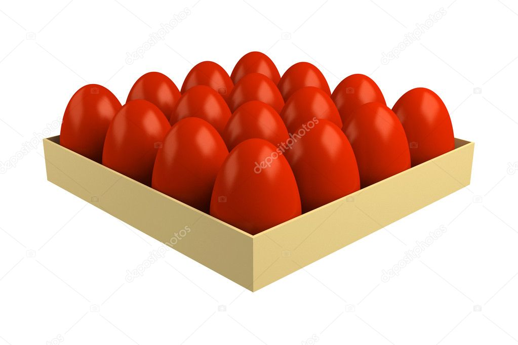 Traditional red Easter eggs, colored onions peel. Isolated on a white background. — Stock Photo #9693294