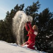 图库照片: Womplaying with snow