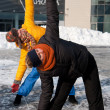 Stock Photo: Women exercising in winter cold, Vilnius, Europe square