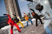 Women exercising in winter cold, Vilnius, Europe square — Stock Photo