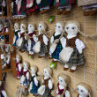 Hand made dolls at market — Stock Photo