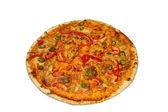 Isolated italian pizza with one slice — Stock Photo