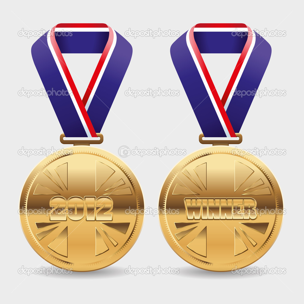 Gold medal editable vector illustration with area to place you own text. — Stock Vector #10059653