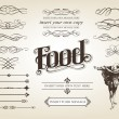Calligraphy Food Set — Stockvektor