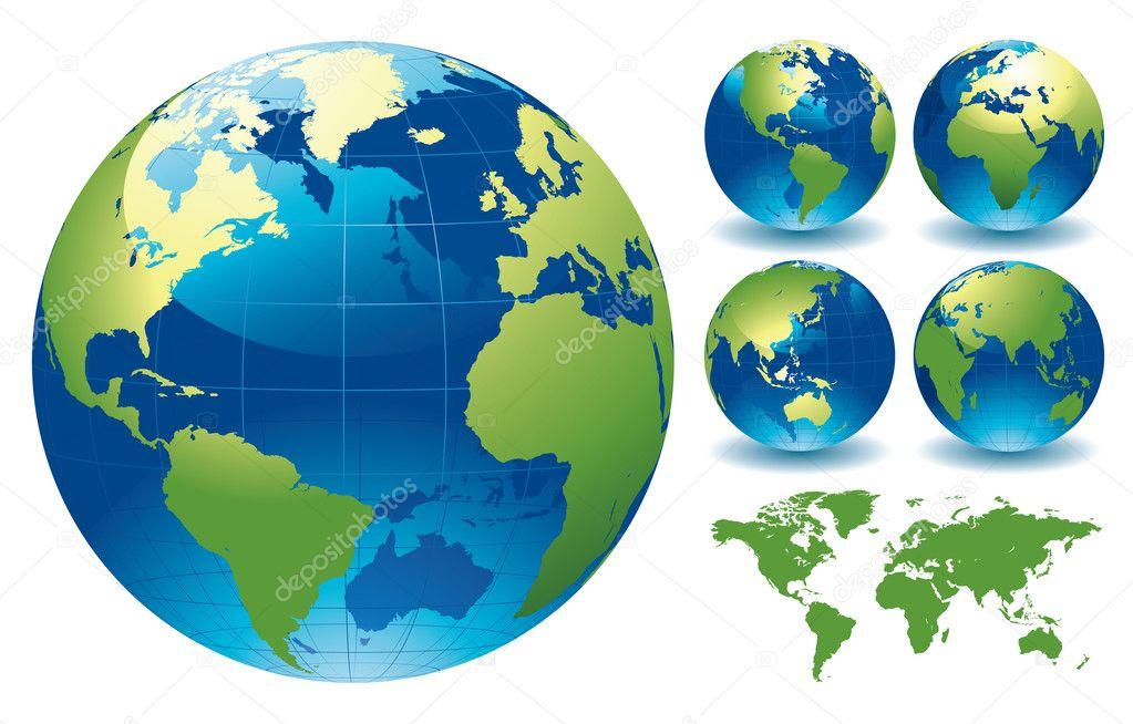 世界地球仪地图 — 图库矢量图片