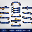 Stock Vector: Blue Ribbon Banners