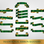 Green Ribbon Banners — Stock Vector