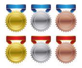 Gold Silver Bronze Award Medals — Stock Vector