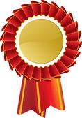 Red award seal rosette — Stock Vector