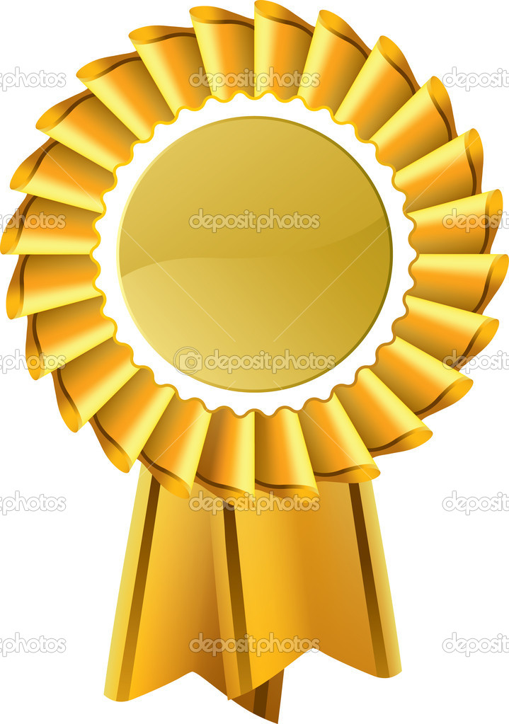 Editable vector illustration of gold award seal rosette — Stock Vector #9198219