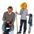 Boy will go out fishing — Stock Photo