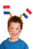 Dutch child as soccer fan — Stock Photo