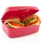 Lunchbox with healthy bread rolls — Stock Photo