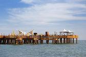 Luxury wooden pier in sea — Stock Photo